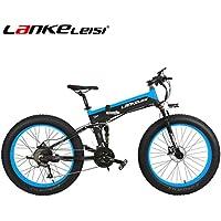 LANKELEISI 26 Fat Wheel Bicicleta Eléctrica Plegable 48V 1000W Shimano 27 Velocidad Suspensión Completa