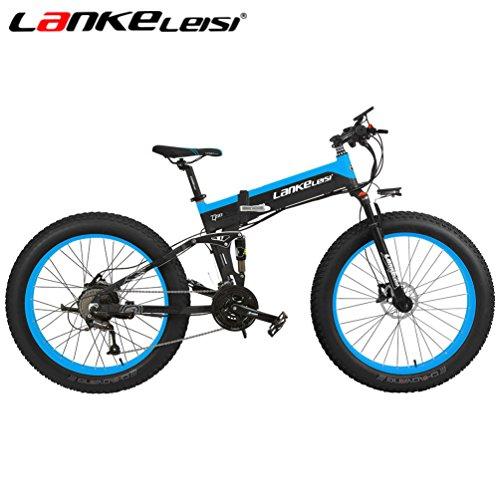 LANKELEISI 26 '' Fat Wheel Bicicleta Eléctrica Plegable 48V 1000W Shimano 27 Velocidad Suspensión Completa Snow Mountain MTB E-Bike, Freno de Disco Hidráulico Dual (10AH Negro-Azul)