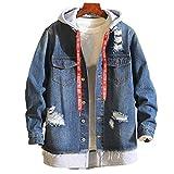 Amphia - Herren Jeansjacke - Vintage Mantel - Destroyed Denim Mantel und Taste, Männlich Herbst Winter Casual Vintage Wash Distressed Denim Jacke Mantel Top Bluse(Blau,L)