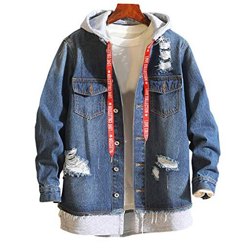 sjacke - Vintage Mantel - Destroyed Denim Mantel und Taste, Männlich Herbst Winter Casual Vintage Wash Distressed Denim Jacke Mantel Top Bluse(Blau,L) ()