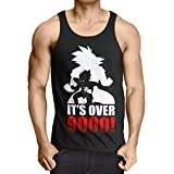 style3 Power Level 9000 Herren Tank Top Ball Goku Anime Dragon, Größe:XL, Farbe:Schwarz