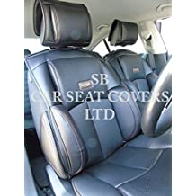 Para adaptarse a un Alfa Romeo 156, fundas para asiento, SJ 01negro Rossini Recaro cubo PVC piel sintética, 2frentes
