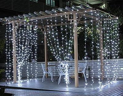 Salcar LED Lichtervorhang 3x3m IP44 Sterne Lichterkette, Lichtervorhang
