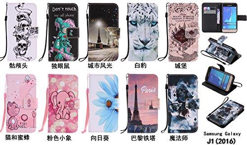 PU Coque Galaxy J1 (2016) SM-J120F, Multifonction Case Wallet Cover Etui en cuir Étui de protection flip Wallet stand Cover avec des fentes de cartes pour Samsung Galaxy J1 (2016) SM-J120F +Bouchons de poussière (7EE)