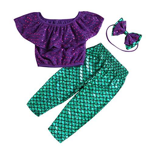 Chennie 3 stücke Meerjungfrau Outfits Outfit Set Rüschen Top + Hose + Stirnband Anzug Für Baby Mädchen 1-5 T (Color : Purple+Green, Size : 1-2Y)