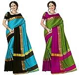 Art Decor Sarees Cotton Saree with Blouse Piece (Pack of 2) (Ashi N Combo Sky Black Green_Multi_Free Size)