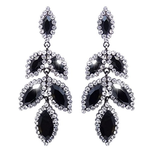 EVER FAITH Silver-Tone del petalo del fiore lacrima ciondola gli Orecchini neri di cristallo austriaco N02352-6 - Petalo Ciondola