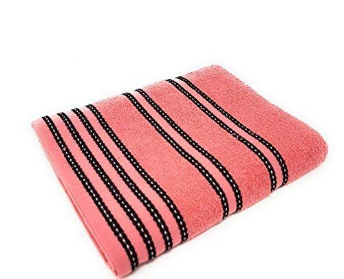 gestreift hell 100% gekämmte Baumwolle weich absorbierend Pfirsich Pink Badetuch Handtuch (Gestreiften Badelaken)