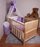 Amilian® Baby Bettwäsche Himmel Nestchen Bettset MIT STICKEREI 100x135cm Neu für Babybett Elefant violett Chiffonhimmel