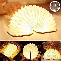 LED Buchlampe, Hölzerne Buch Lampe, USB Aufladbare Orgel Lampe, Aurora Lampe Buch Faltbar/Aufhängbar, Dekorative Lampen/Nachtlicht/Leuchten für Kinder, Geschenk für Frauen/Eltern/Kinder-Warmweiß Licht