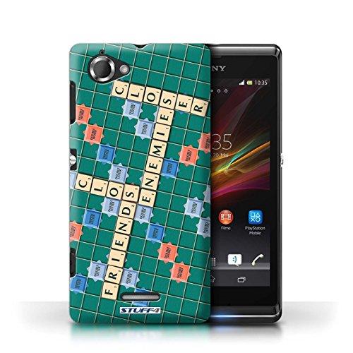 Kobalt® Imprimé Etui / Coque pour Sony Xperia L/C2105 / Jours Heureux conception / Série Mots de Scrabble Ennemis Proximité