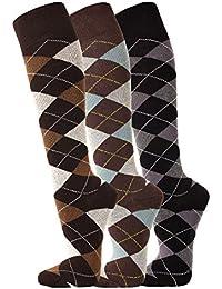 TippTexx24 3 Paar Ökotex Reiter Kniestrümpfe, Reitstrümpfe in modischen Karo Mustern und zusätzlicher Garantie, echte FußFreunde