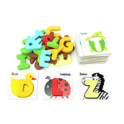Wooden Animals Letter Cards, Netspower Early Learning Cards For Baby Kids-Alphabet Animal Match