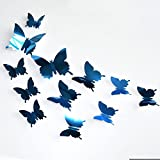 12pcs 3D Spiegel Schmetterling Wandaufkleber 3D Schmetterlinge Wanddeko Aufkleber Abziehbilder Schmetterlings Aufkleber Abziehbild Fenster Glas Wand Window Dekor