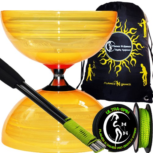 "Sundia ""Shining"" (Orange) Profi Komplett-Diabolo Set (The Best Freilaufdiabolo) mit Freiläufer (3K Dreifach-Kugellager), Diablo CARBON-Handstäbe und Diaboloschnur 10m Rolle ULTRA SPIN +Reisetasche! Jongliergeräte"