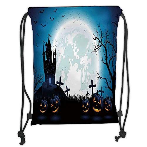Icndpshorts Halloween Decorations,Spooky Concept with Scary Icons Old Celtic Harvest Figures in Dark Image,Blue Soft Satin,5 Liter Capacity,Adjustable String Closure,