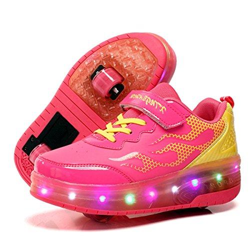 Meurry Unisex Skateboard Schuhe Rollschuh Schuhe Einzelrad Rollenschuhe LED-Skateboard Lichter Blinken Schuhe Räder Schuhe Turnschuhe mit 2 Rollen (29 EU, Rosa # 1) (Skateboard-schuh 2)