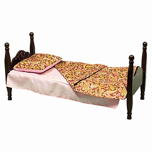 The Queen's Treasures Single Stackable 18 Doll Wooden Bed & 3 Piece 18 Doll Bedding Set! Mahogany Stained Furniture & Accessories Fits American Girl (Blanket, Pillow and Dust Ruffle Included). Buy 2 to Make a Sleepover Party Bunk Bed by The Queen's Treasu