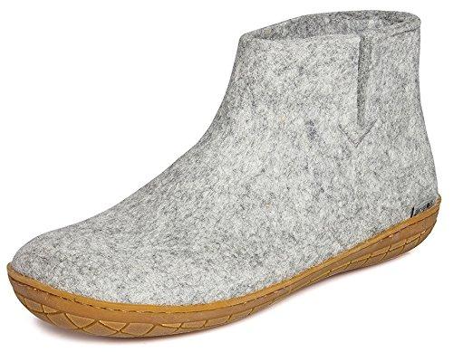 Glerups Modell GR Modischer Erwachsenen Hausschuh für Damen & Herren aus Wolle, Rutschfester Gummisohle, knöchelhoch, entspricht dem Modell G nur mit Gummisohle Grau (Grey), EU 41