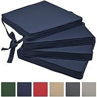 Beautissu Loft SK set de 4 cojines almohadas para sillas asientos 45x40x5 Azul oscuro elegantes y modernos
