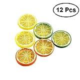 LUOEM Künstliche Zitronenscheibe Simulation Lebensmittel Modell Dekoration Künstliche Früchte Küche Foto Requisiten 12 STÜCKE