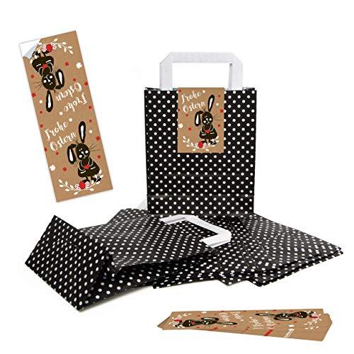 eine Schwarze Verpackung Henkeltüte Papiertüte mit Griff Punkte 18 x 8 x 22 cm + Osternest Osteretiketten 7,2 x 21 cm Text Frohe Ostern Geschenk Aufkleber braun weiß rot ()