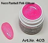 5ml UV Exclusiv Neon-Farbgel Pastell Pink Glitzer
