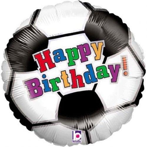 Folienballon Happy Birthday Fußball schwarz weiß bunt 45 cm (Ballongas geeignet)