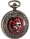 AMPM24 Steampunk Death Skull Pirate Red Dragon Retro Pendant Pocket Watch Gift WPK172