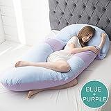 PIAOL Cuscino Di Gravidanza/lato Vita Cuscino Dormire/cuscino U/cuscino Donna Incinta Multifunzionale/cuscino Di Sonno/cuscino 140x80cm,Blue+Purple-170*110*75cm