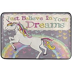 coosun unicornio con un arco iris Felpudo, forma de puerta de interior al aire libre alfombra de entrada con base antideslizante., (23.6por 15.7-inch)