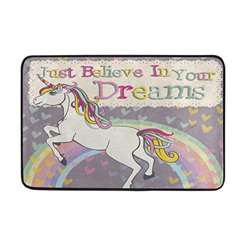 COOSUN Unicornio con un Arco Iris Felpudo