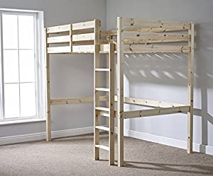Loft Bunk Bed - 4ft Small Double wooden high sleeper bunkbed - heavy duty use - CAN BE USED BY ADULTS