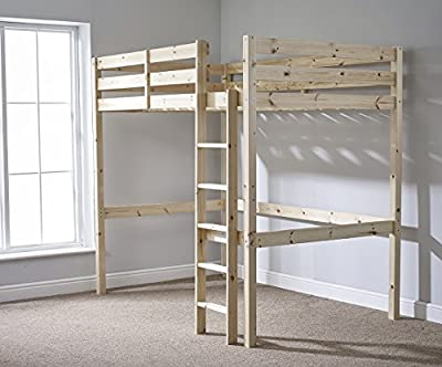 Loft Bunk Bed - 4ft 6 Double wooden high sleeper bunkbed - heavy duty use - CAN BE USED BY ADULTS