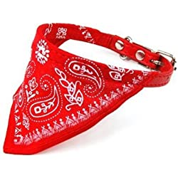 DcolorAjustable perro de mascota gato Bandana Bufanda Collar tamano pequeno rojo