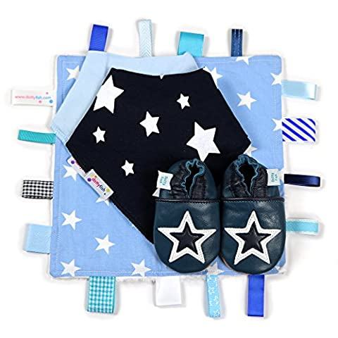 Dotty Fish Navy & White Star Leather Baby Shoes with Tag Blanket & Bibs - 6-12 Months - UK 3