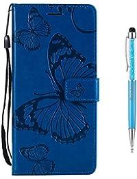 Galaxy S6 Edge Hülle [Lebenslange Garantie],Grandoin Handyhülle im Brieftasche-Stil für Samsung Galaxy S6 Edge Handytasche PU Leder Flip Cover Schmetterling Muster Design Premium Book Case Schutzhülle mit [aktualisierter TPU Innenschale] [Aufstellfunktion] [Ständer Kartenfach] [Magnetverschluss] Etui Case (Blau)