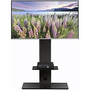 fitueyes meuble tv avec support cantilevert l pied pivotant pour ecran de 32 65 pouce tv led. Black Bedroom Furniture Sets. Home Design Ideas