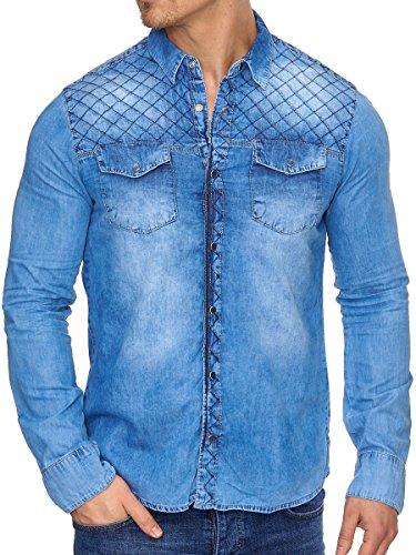 Tazzio Herren Jeans Hemd Denim Jeanshemd Hemden Herrenhemd Langarm Shirt (S, Navy - G311) (Denim-shirt Navy Langarm)