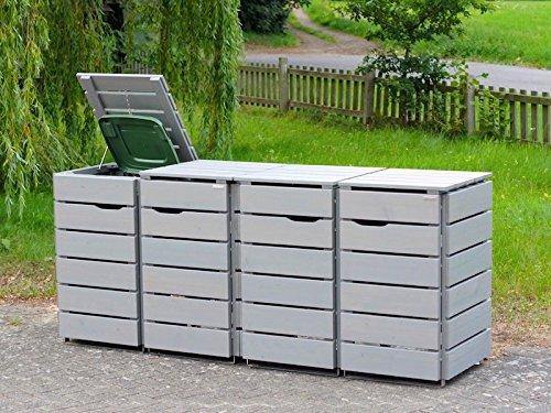 4er Mülltonnenbox / Mülltonnenverkleidung 120 L Holz, Transparent Geölt Grau - 3