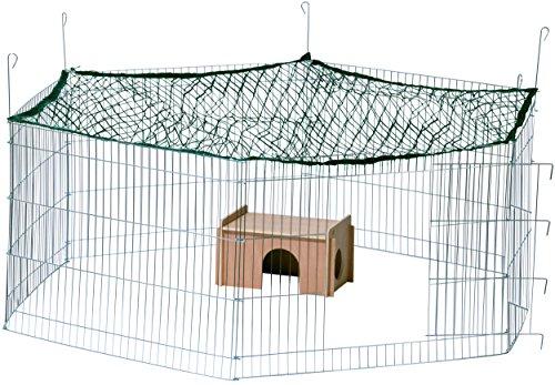 *dobar 80605 Großes Kaninchengehege aus 6 Elementen, mit Nylon Netz und Holzhaus, XXL Freilauf für Hasen, Freilaufgehege XL, 165 x 145 x 60 cm, silber*
