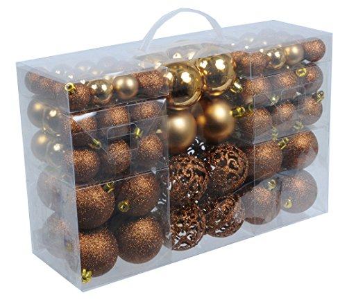 Preisvergleich 100 Weihnachtskugeln Bronze Braun