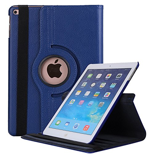 Robustrion Smart 360 Degree Rotating Stand Case Cover For New iPad 9.7 inch 2018/2017 5th 6th Generation Model A1822 A1823 A1893 A1954 & ipad Air 2013 A1474 A1475 A1476 A1566 A1567 - Navy