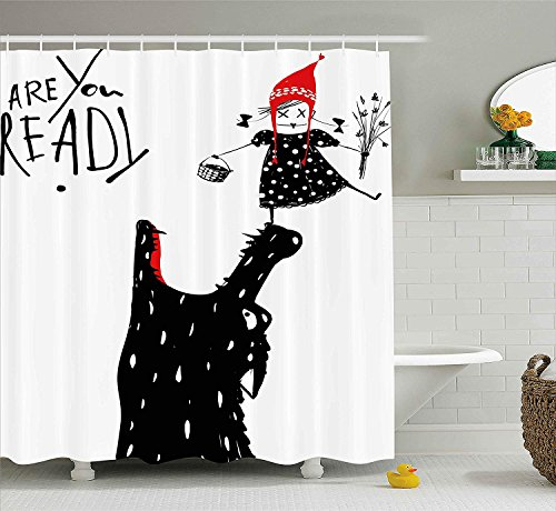 tgyew Modern Decor Shower Curtain by, Cartoon Design Print with a Little Red Riding Hood Girl and Wolf, Fabric Bathroom Decor Set with Hooks, 66x72 inches, Black Red and White