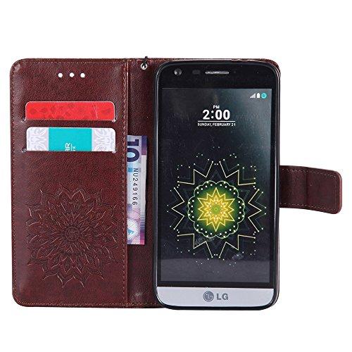 Für LG G5 Fall, Prägen Sonnenblume Magnetische Muster Premium Soft PU Leder Brieftasche Stand Case Cover mit Lanyard & Halter & Card Slots ( Color : Pink ) Brown