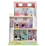MALATEC Großes Puppenhaus aus Holz Zubehör Traumhaus 4 Zimmer 3 Ebenen Garten Pool#6858