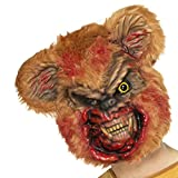 Zombiemaske Teddy Horrormaske Bär blutige Halloweenmaske gruselige Bärenmaske Gruselmaske Halloween Zombie Teddybär Maske