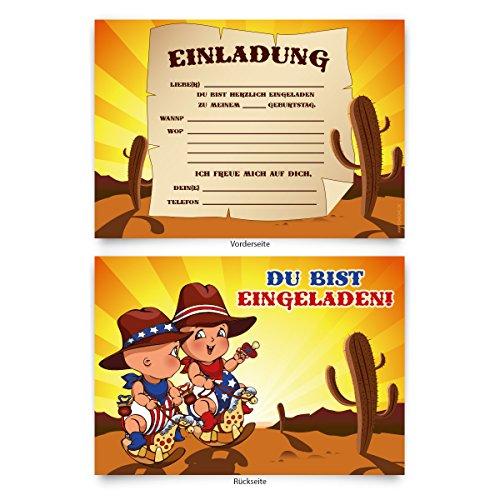 """Einladungskarten (8 Stück) zum Selbstausfüllen für Kindergeburtstag - """"Cowboy"""""""