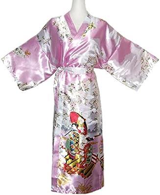 Kimono Mujer japonesa - bata larga elegante de satén