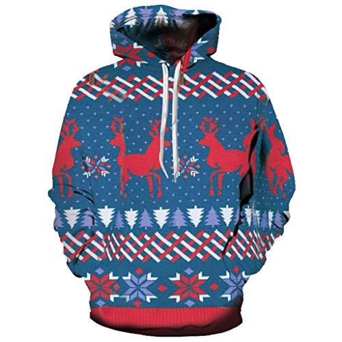 (Soupliebe Damen Christmas Long Sleeve trägerloses Sweatshirt Printed Pullover Tops Bluse Kapuzen Langarmshirt Sweatjacke Kapuzenpullover Hoodie)